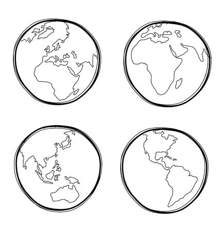 Vector illustration of  hand-drawn global Vector