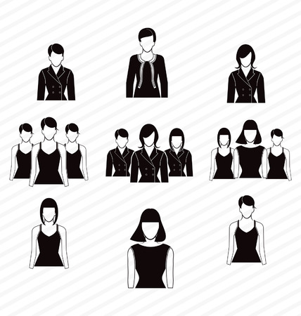vector illustration of  office woman suit icon  set