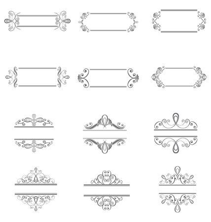 Set of vector floral elements for design