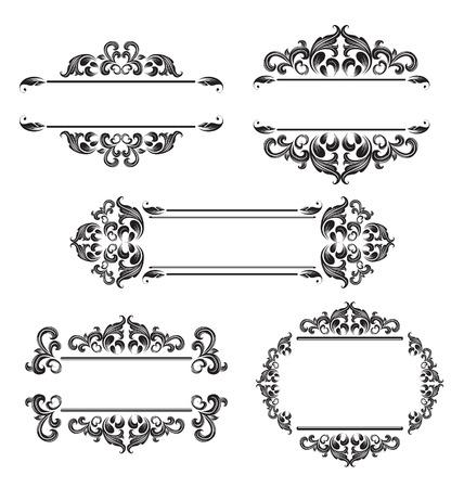 Set of vintage floral frame. Element for design.  Illustration