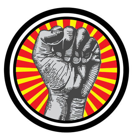 boycott: Vector illustration in retro style of  fist held high