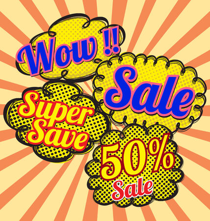 sale bubble talk in pop-art style.  Vector
