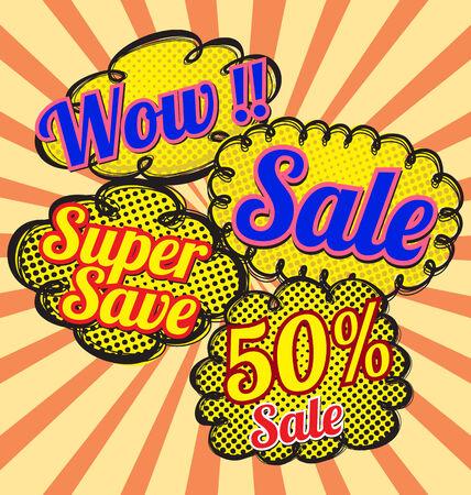 sale bubble talk in pop-art style.  Vector