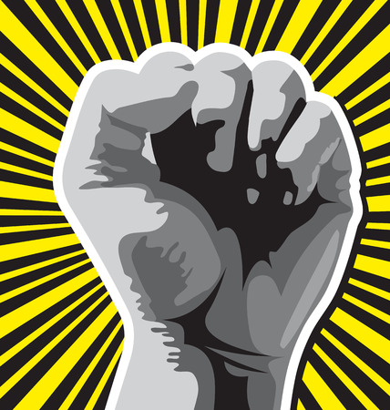 fist held high in protest, vector illustration