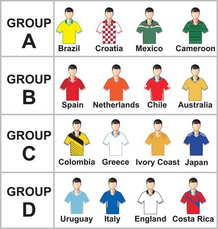 Vector illustration of Brazil 2014 Cup Jerseys Football Kits