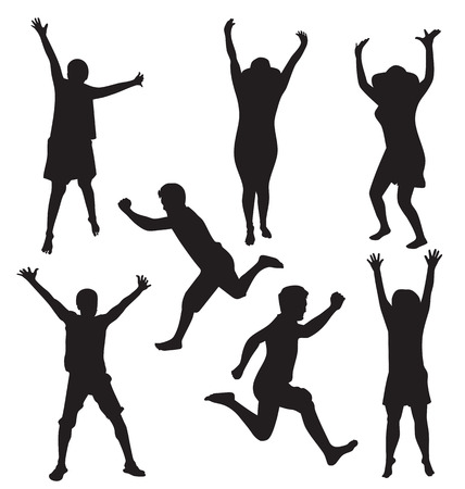 Vector illustration of jumping people Vector