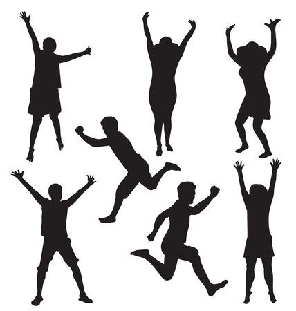 girls having fun: Vector illustration of jumping people Illustration