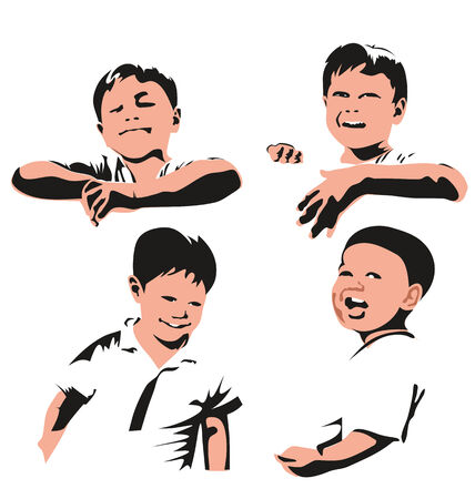 gleeful: Vector illustration of   boy sillhuette