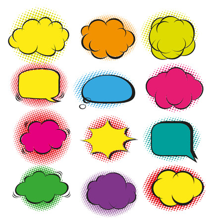 gulp: vector illustration of speech bubble set