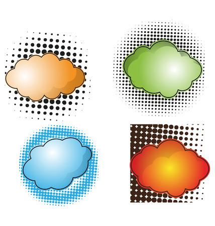 halfone: vector illustration of speech bubble set