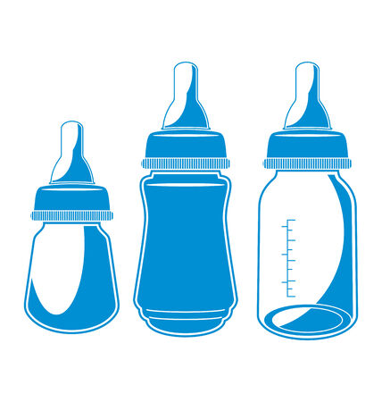 baby with bottle: Vector illustration of   baby bottle