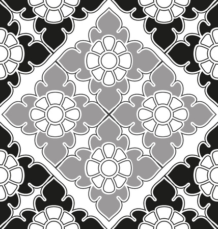thai style: Thai style seamless floral pattern. Vintage  illustration