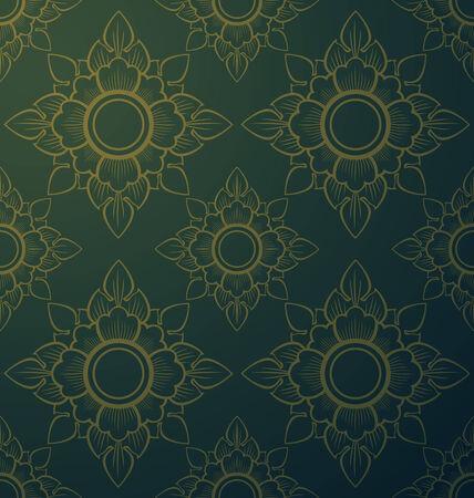 thai silk: Thai style seamless floral pattern. Vintage  illustration
