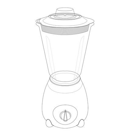 liquidiser: outline electric blender on a white background Illustration
