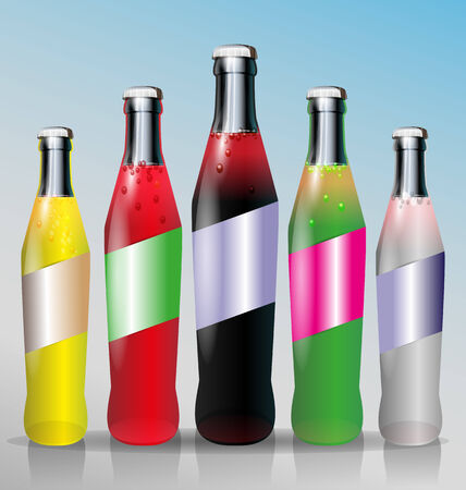 aerated: Five bottles of cold aerated soft drink with water drops