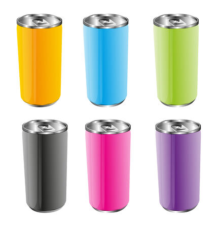 unprinted: Six Aluminum Can.Vector Design