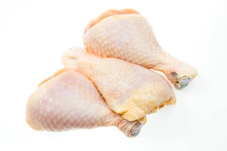raw chicken legs on a white background Stock Photo