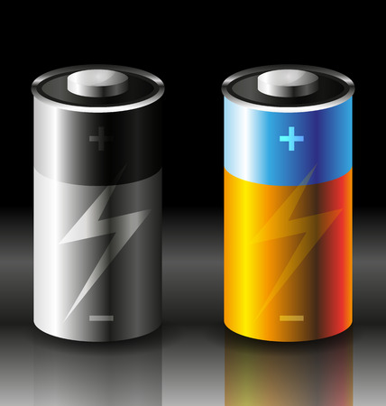 cadmium: vector illustration of two batteries icons