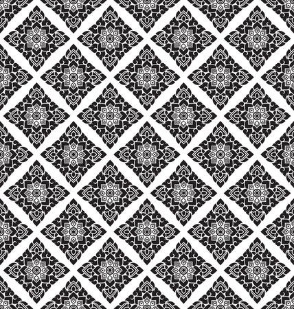 oriental style: black and white Thai style art pattern wallpaper
