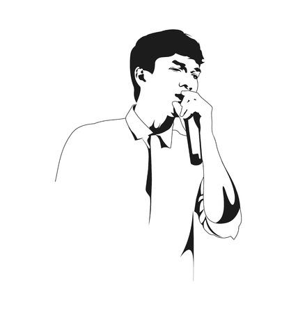 deejay: Vector illustration of  silhouette singer man