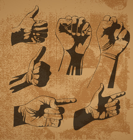 thump up: Vector illustration of   hand gestures set