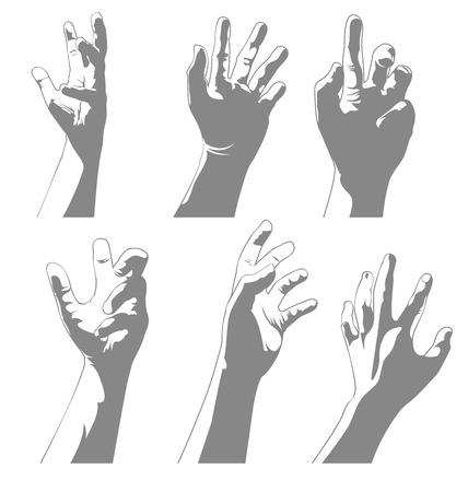 grope: Vector illustration of   hand  set Illustration