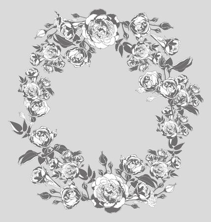 elegantly: Vector illustration of   wreath with roses
