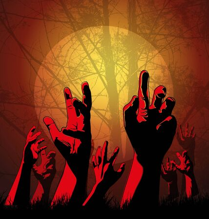 zombie hand: Halloween background with zombies hand.