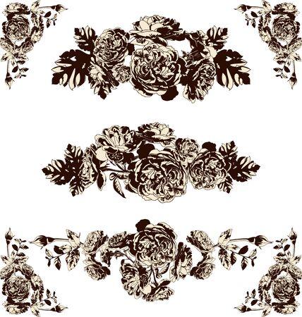elegantly: Vector illustration of silhouette rose set,border,frame and corner design