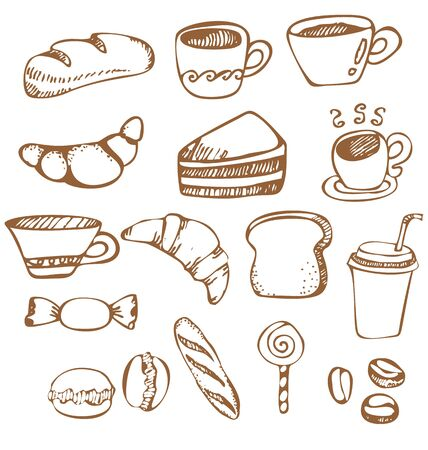 boulangerie: Vector illustration of   hand-drawn dessert and coffee cup Illustration