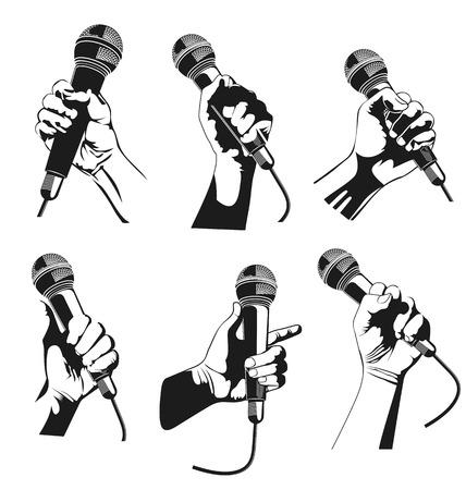 Ilustración vectorial de la mano que sostiene un micrófono