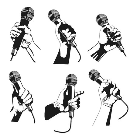 Vector illustration of hand holding a microphone
