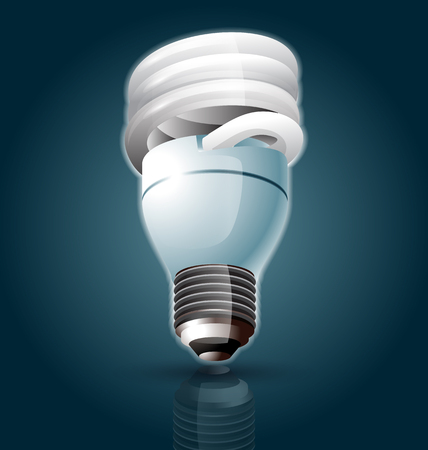 kilowatt: vector illustration of fluorescent light bulb Illustration