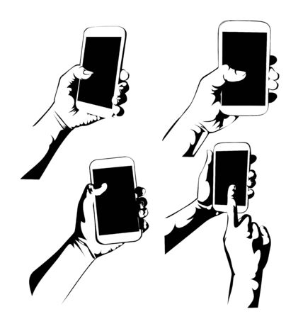 holding smart phone: vector illustration of hand holding smart phone set