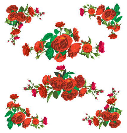 elegantly: Vector illustration of silhouette rose ,border,frame and corner design