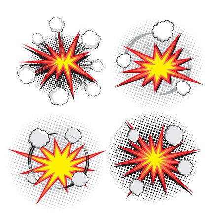 Vector illustration of exploding symbols