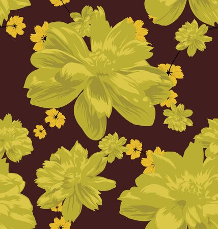 cosmos flower: Vector Illustration of  floral seamless pattern with cosmos flower Illustration