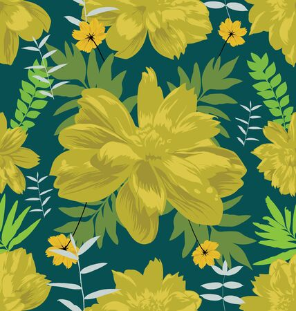 Vector Illustration of  floral seamless pattern with cosmos flower Illustration