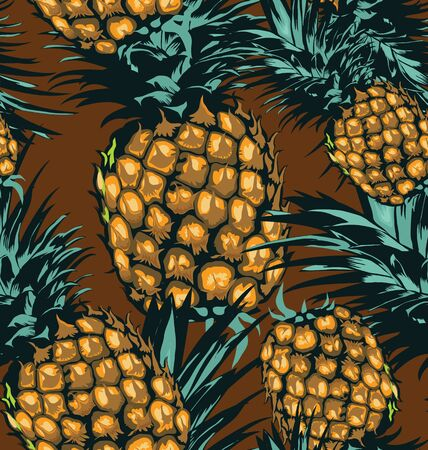 Vector seamless  pattern with pineapples. Illustration