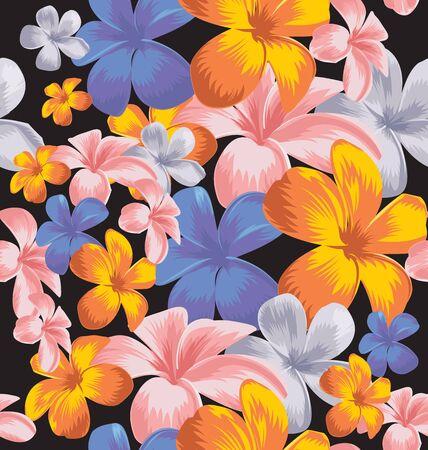 Vector Illustration of plumeria floral seamless pattern