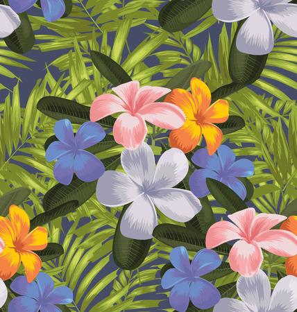 pink plumeria: Vector Illustration of floral seamless pattern Illustration