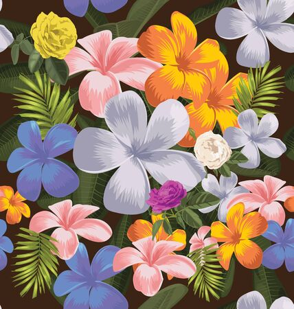 Vector Illustration of floral seamless pattern Çizim