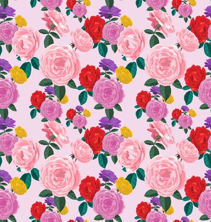 transparently: Vector Illustration of rose seamless pattern