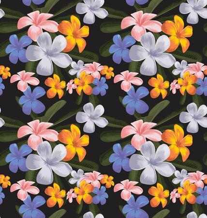 Illustration of plumeria floral seamless pattern Illustration
