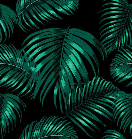 Illustratie van palmbladeren naadloos patroon Stockfoto - 48904590
