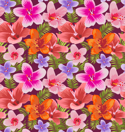 illustration of Hibiscus seamless pattern