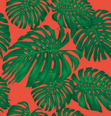 monstera: Illustration of Monstera leave seamless pattern