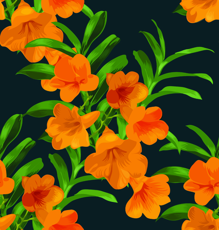 luau party: Illustration of  floral seamless pattern