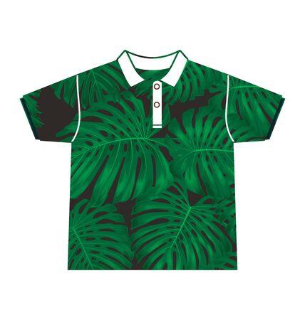 habiliment: Illustration of  leafl  pattern shirt Stock Photo