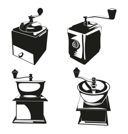 coffee grinder: Vector Illustration of   silhouette coffee grinder